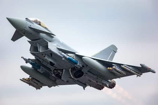 Typhoon jet fighter aircraft in the sky BAE Systems