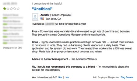 Screenshot 2 of company reviews